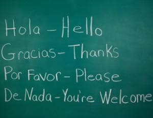 Chalkboard with basic Spanish and English words